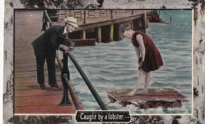 Caught by a lobster, Photographer & Woman on raft