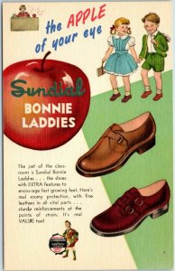 Vintage 1940s LINEN Advertising Postcard SUNDIAL BONNIE LADDIES Children's Shoes