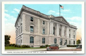 East St Louis Illinois~Federal Building & Post Office~Cars in Front~1920s