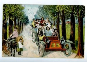 214956 Donkey MULTIPLE BABIES in vintage Car COLLAGE Photo Old