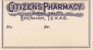 BRENHAM , Texas, 1890s-1900 ; Citizens Pharmacy envelope