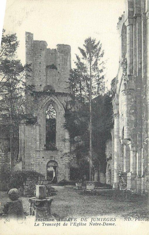 Postcard France Ancienne Abbaye de Jumieges eglise Notre Dame ruins