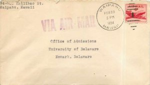 Cover letter US 6c Waipahu in 1954 for Newark