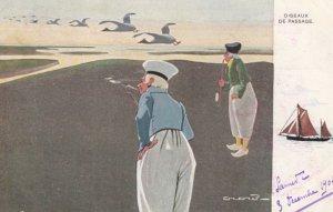 Dutch men watch geese , 1904 ; TUCK