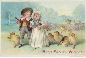 Best EASTER Wishes, Child couple with tennis rackets, egg, chicks, 1900-10s