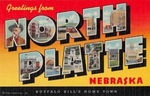 North Platte Nebraska Greetings From large letter linen antique pc Z49812