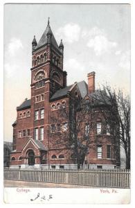York PA College Collegiate Institute Vintage 1907 Postcard