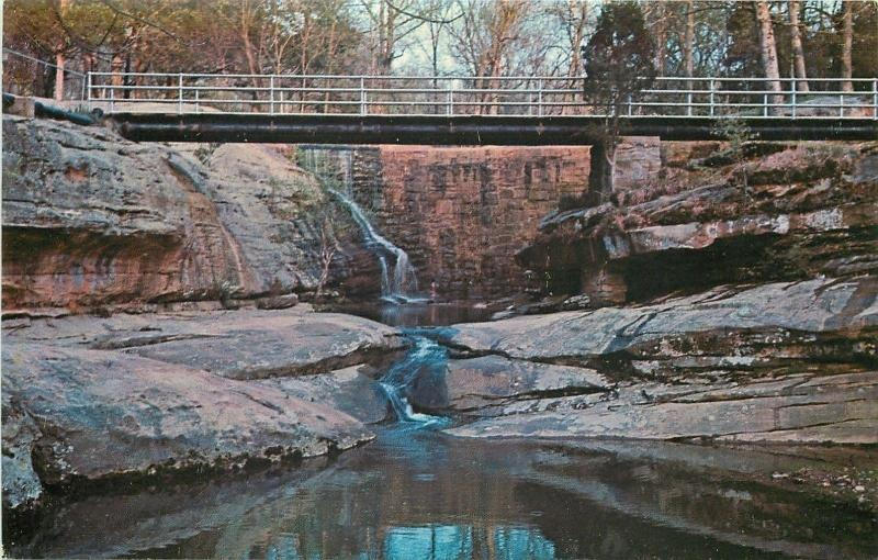 Dixon Springs State Park Illinois~Shawnee Hills~Bridge Over Falls~1960s Postcard