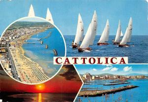 Italy Cattolica boats coast pier promenade animated panorama, sunset
