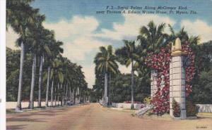 Florida Fort Myers Royal Palms Along MacGregor Boulevard Near Thomas A Edison...