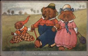 Fantasy - Cute Teddy Bear Family in Clothes THE MORNING WALK c1910 Postcard