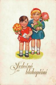 Happy Birthday Kids with flowers and an envelope 02.89