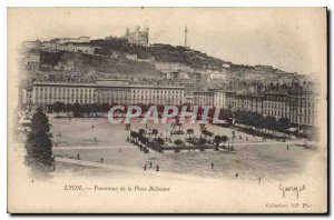 Old Postcard Lyon panorama from Place Bellecour