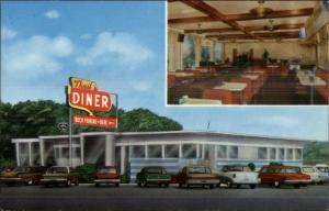 North of Harrisburg on Routes 11 & 15 TRAIL DINER - Scarce Postcard