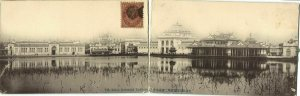japan, TOKYO, The Industrial Exhibition Double Panorama Postcard (1907)