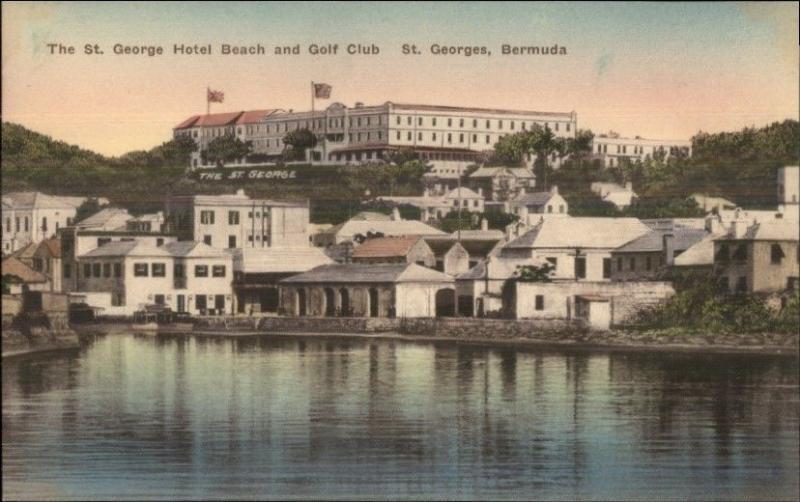 St. Georges Bermuda Hotel Beach & Golf Club Hand Colored Old Postcard