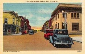 Linen c1930-45 USA Postcard, Main Street, Salem, Virginia, Classic Cars 55Y