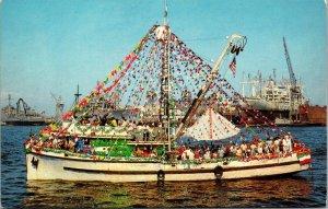 Postcard CA California San Pedro Parading Fishing Boat Unposted