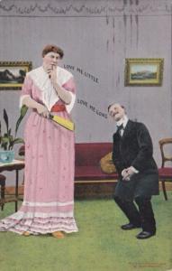Bamforth Romantic Couple Love Me Little Love Me Long 1909