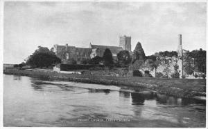 Postcard Priory Church CHRISTCHURCH Dorset Photo Brown Series by Valentine's