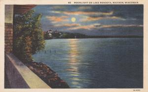 Moonlight on Lake Mendota - Madison WI, Wisconsin - Linen