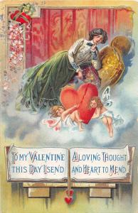 C26/ Valentine's Day Love Holiday Postcard 1912 Nunda NY Broken Heart Woman 10