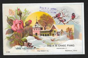 VICTORIAN TRADE CARD Chase Piano Roses Birds Church