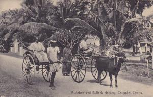 COLOMBO, Ceylon, Sri Lanka, 1900-1910's; Rickshaw And Bullock Hackery