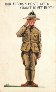 Bernhardt Wall~WWI Military~US Soldier Salutes~Our Elbows Don't Get Rusty~1917