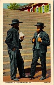 Amish Men of Lancaster PA Pennsylvania Unsent Vintage Linen Postcard