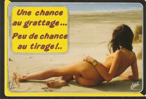 Risque nude in the beach Modern French Postcard. Continental size