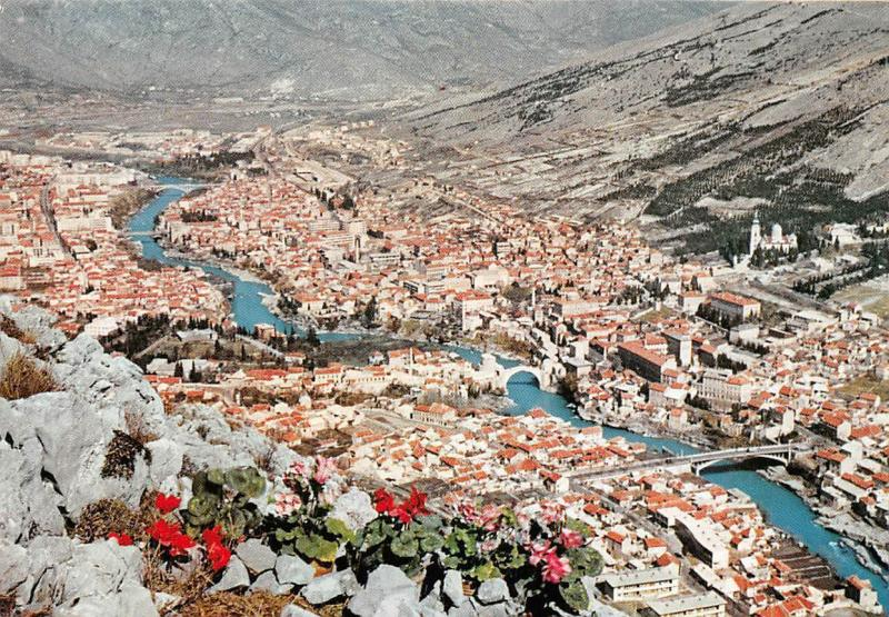 Bosnia and Herzegovina Mostar General view Panorama Bridges River