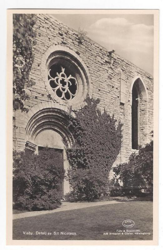RPPC Sweden Visby St. Nicolaus Church Window Real Photo