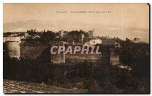 Old Postcard Espana Spain Spain Granada Alhambra desde San Nicolas