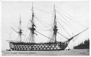 uk33124 hms victory portsmouth harbour real photo uk war ship britain navy