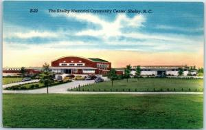 Shelby, North Carolina Postcard Memorial Community Center Building View Linen