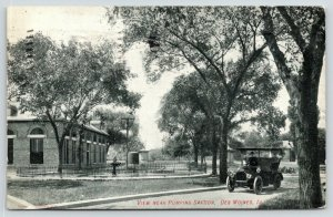 Des Moines Iowa~View near Pumping Station~Vintage Car on Drive~1907