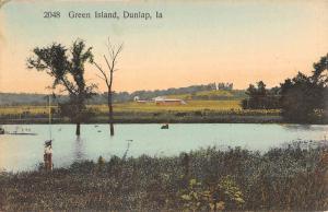 Dunlap Iowa Green Island Waterfront Antique Postcard K83031