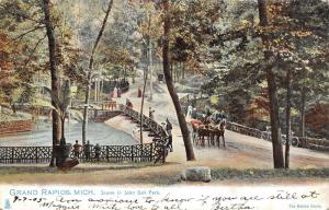 Grand Rapids Michigan~Horses on Drive in John Ball Park~Kids on Fence~1905 TUCK