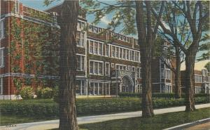 La Porte Indiana~Art Deco High School~ See Through Trees~Arch Entry~'40 Postcard