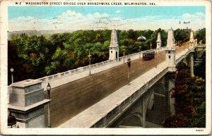 Vtg 1930s Washington Street Bridge Over Brandywine Creek Wilmington DE Postcard