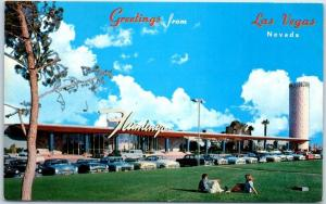 Las Vegas, Nevada Postcard HOTEL FLAMINGO Front View 1950s Cars Unused