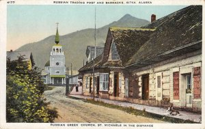Russian Trading Post, Barracks SITKA Alaska Greek Church c1910s Vintage Postcard