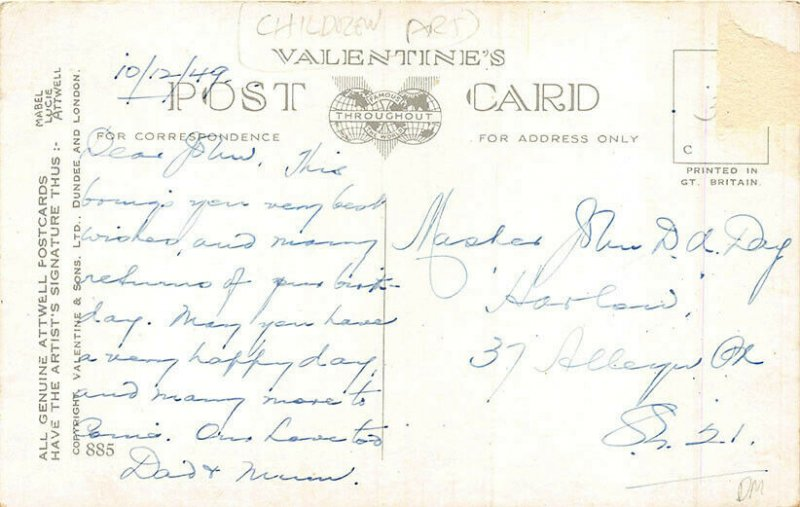 Don't Catch Me Being No Golf Widow! Golf  Clubs Signed Mabel Attwell Postcard