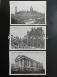BIRMINGHAM x 3 Old Postcard Town Hall COUNCIL HOUSE GPO & New Street by F.F.& Co