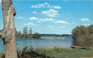 Irish Hills Michigan~People Water Skiing on Lake~Boat @ Dock~1950s Postcard