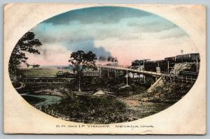 Nevada Iowa~DM & IF Viaduct~Train Under Bridge~Kate Murphy Colfax~1908 Handcolor
