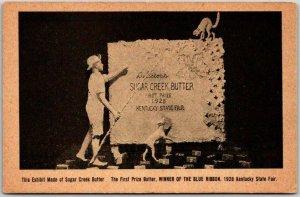 1928 KENTUCKY STATE FAIR Postcard Sugar Creek Butter Exhibit / Sculpture UNUSED
