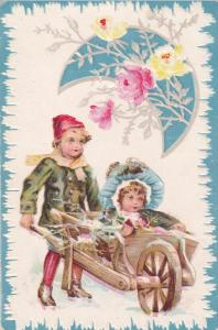 Boy pushing wheel barrel with girl wearing bonnet, Yellow and Pink Roses, Moo...
