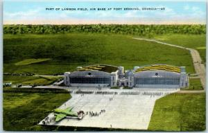 Fort Benning, Georgia Postcard Aerial View, LAWSON FIELD Air Base Linen WWII